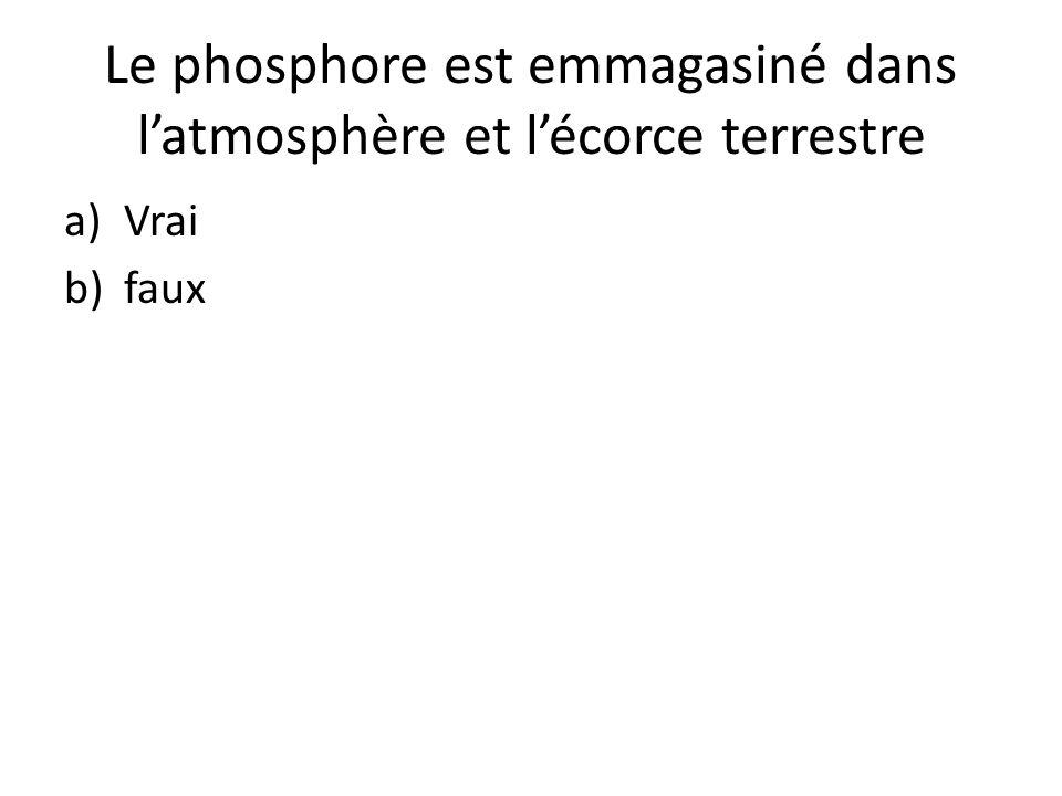 Le phosphore est emmagasiné dans l'atmosphère et l'écorce terrestre