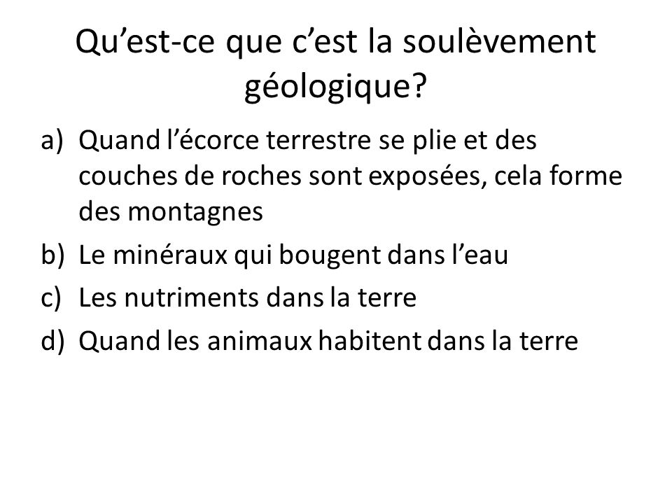 Qu'est-ce que c'est la soulèvement géologique