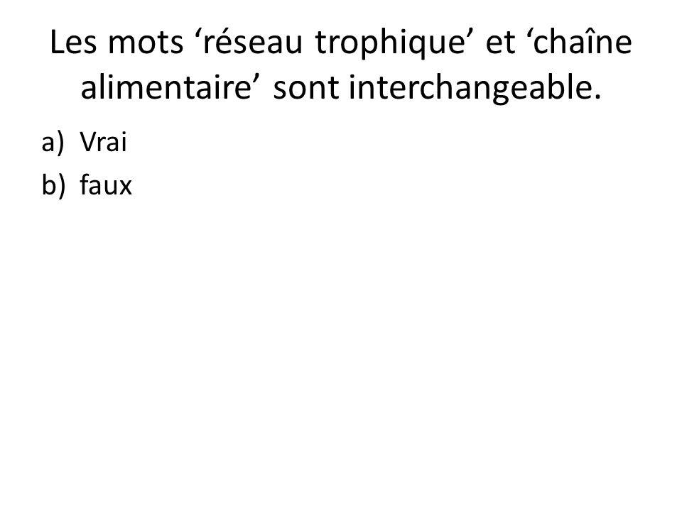 Les mots 'réseau trophique' et 'chaîne alimentaire' sont interchangeable.