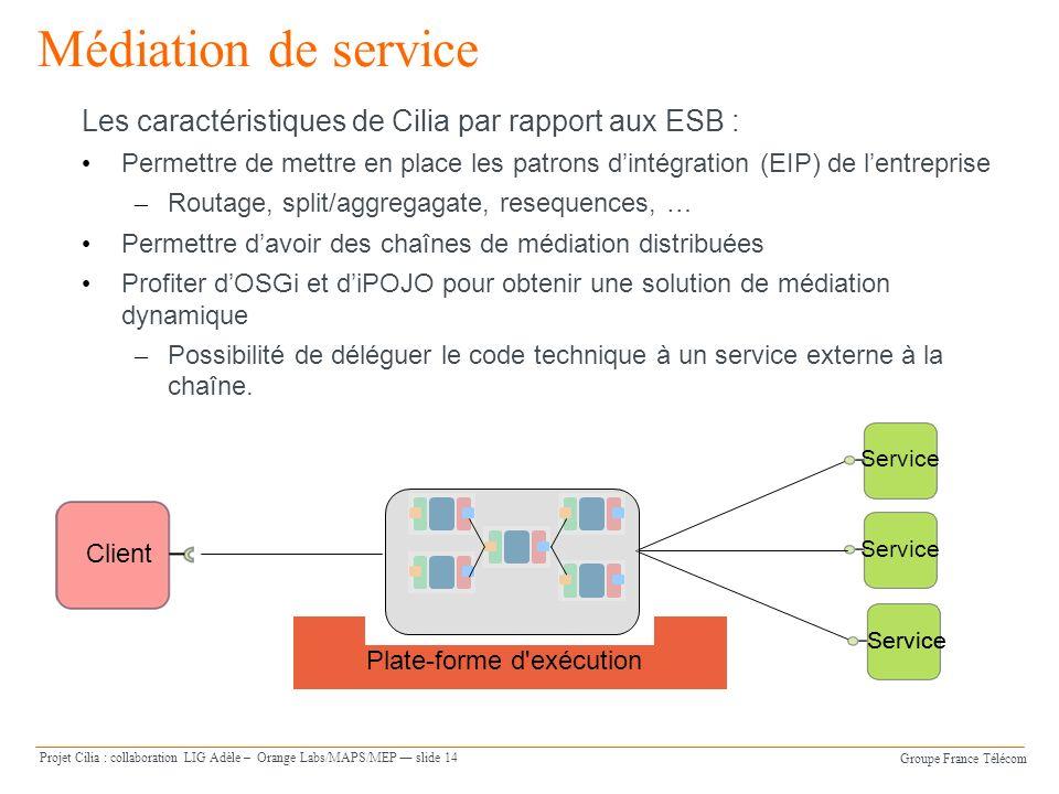 Médiation de serviceLes caractéristiques de Cilia par rapport aux ESB : Permettre de mettre en place les patrons d'intégration (EIP) de l'entreprise.