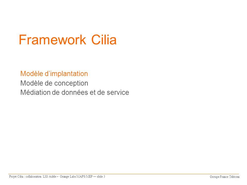 Framework Cilia Modèle d'implantation Modèle de conception