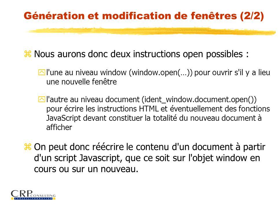 Génération et modification de fenêtres (2/2)