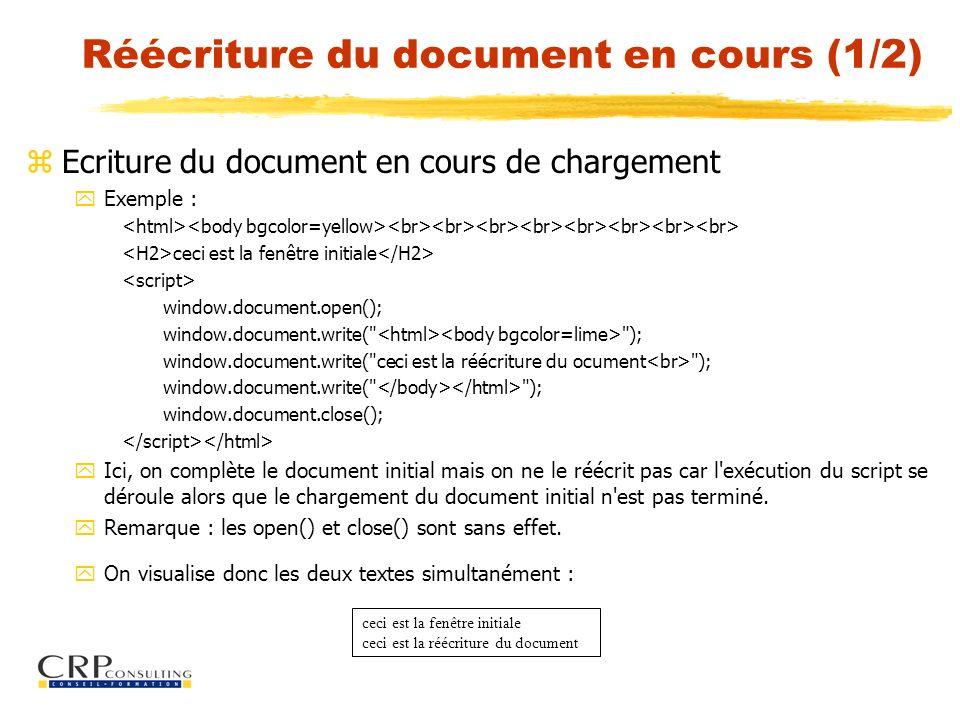 Réécriture du document en cours (1/2)