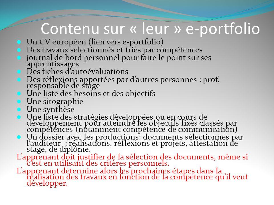 Contenu sur « leur » e-portfolio