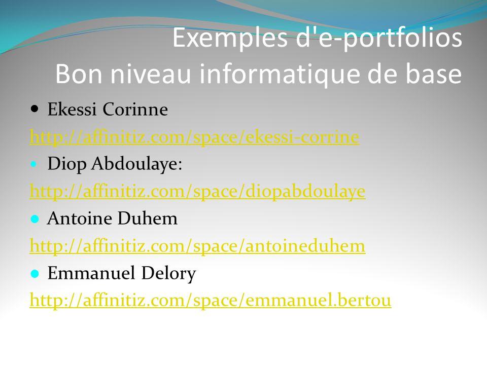 Exemples d e-portfolios Bon niveau informatique de base