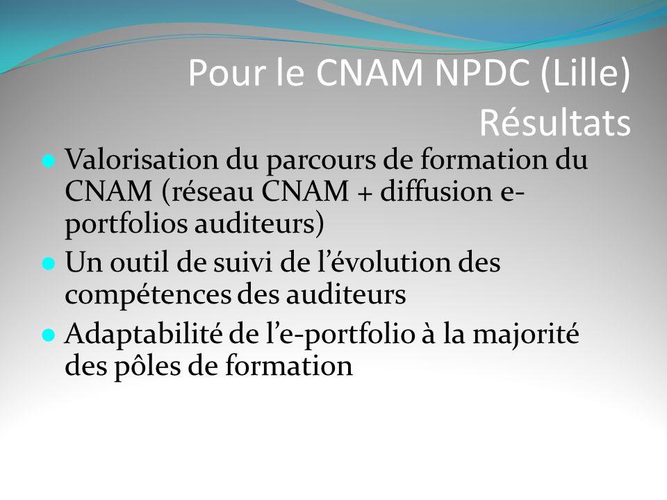 Pour le CNAM NPDC (Lille) Résultats