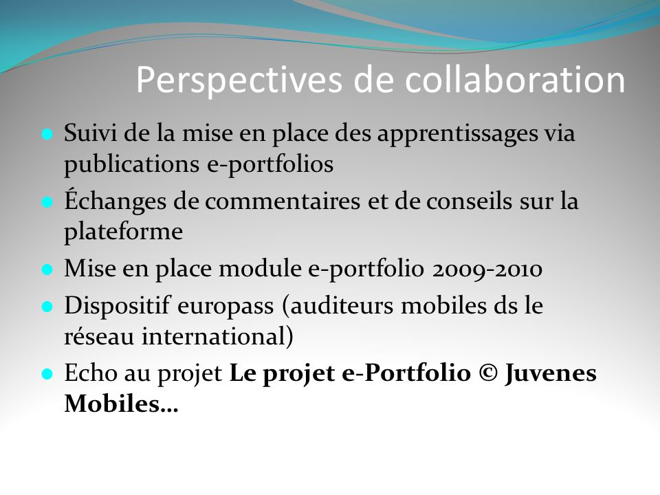 Perspectives de collaboration