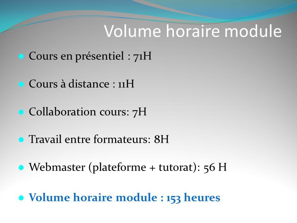 Volume horaire module Cours en présentiel : 71H Cours à distance : 11H