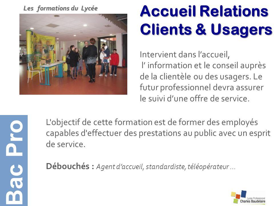 Bac Pro Accueil Relations Clients & Usagers Intervient dans l'accueil,