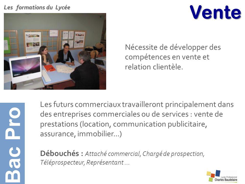 Bac Pro Vente. Les formations du Lycée. Nécessite de développer des compétences en vente et relation clientèle.