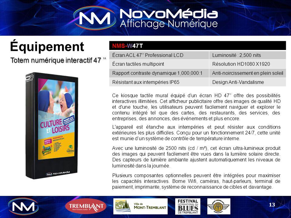 Équipement Totem numérique interactif 47 '' NMS-W47T