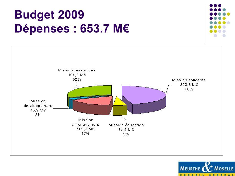 Budget 2009 Dépenses : 653.7 M€