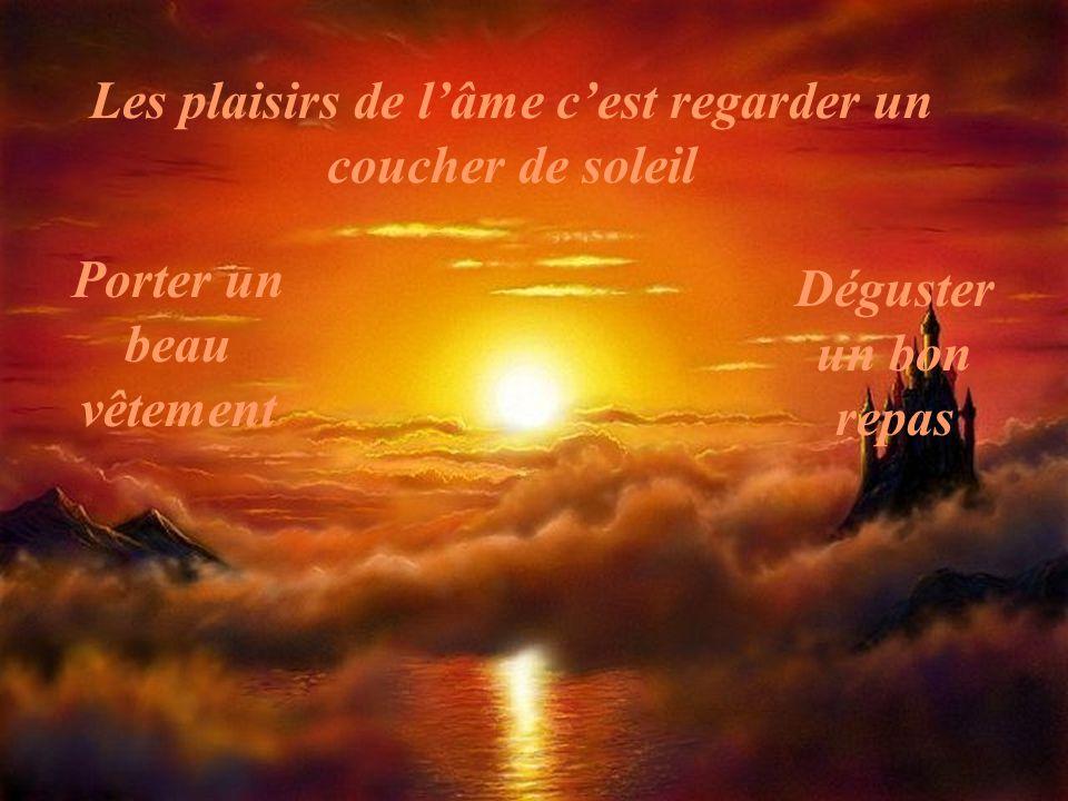 Les plaisirs de l'âme c'est regarder un coucher de soleil