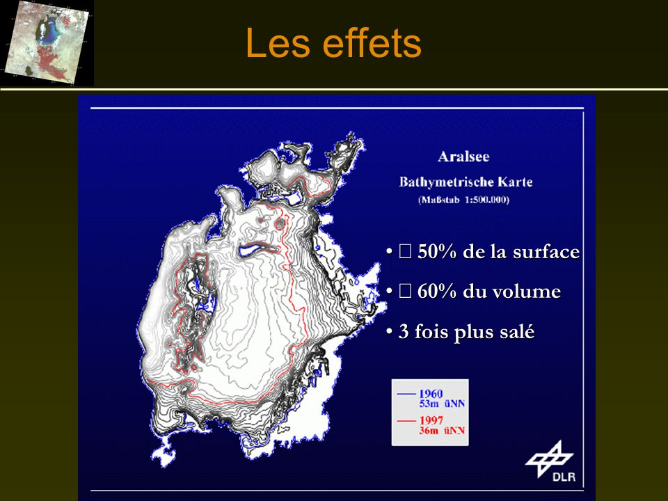 Les effets ¯ 50% de la surface ¯ 60% du volume 3 fois plus salé