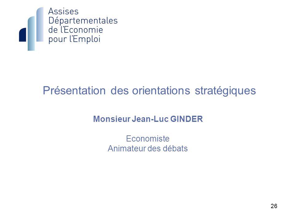 Présentation des orientations stratégiques Monsieur Jean-Luc GINDER Economiste Animateur des débats