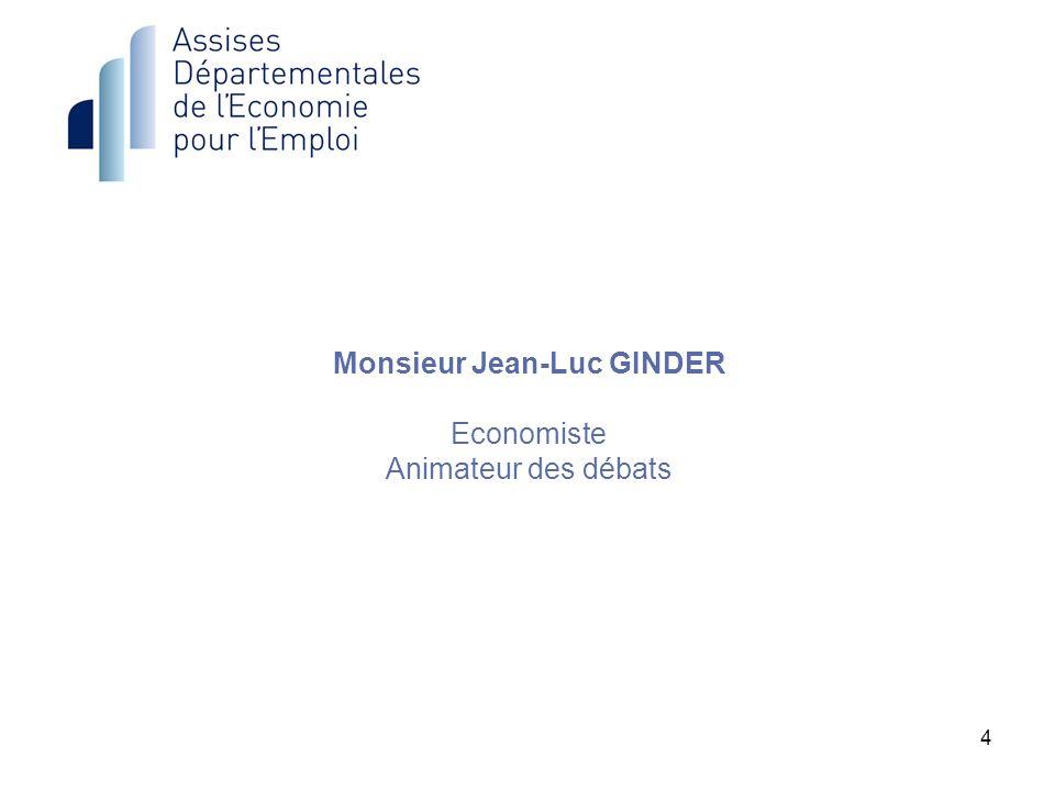 Monsieur Jean-Luc GINDER Economiste Animateur des débats