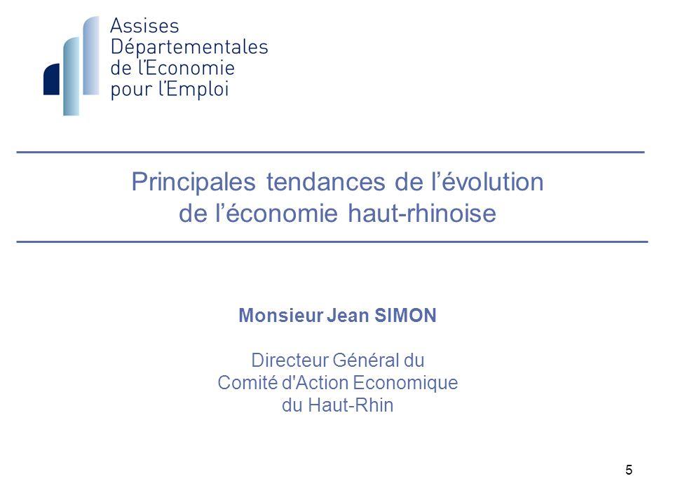 Principales tendances de l'évolution de l'économie haut-rhinoise Monsieur Jean SIMON Directeur Général du Comité d Action Economique du Haut-Rhin