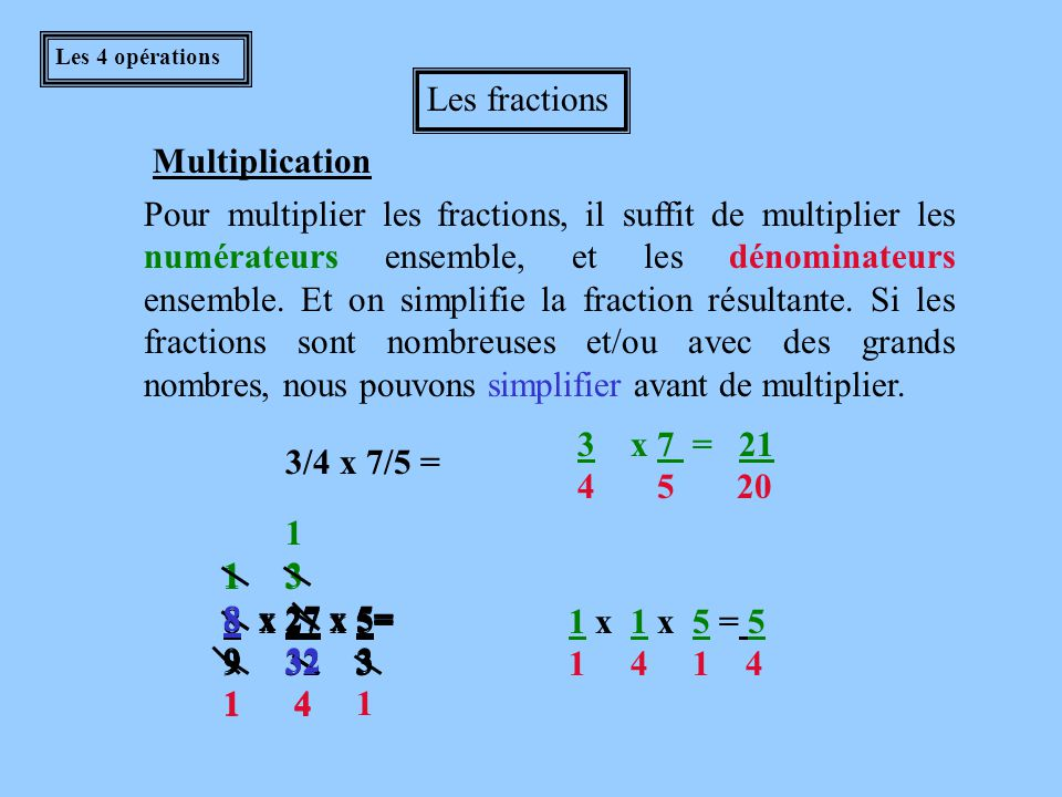 Les fractions Multiplication