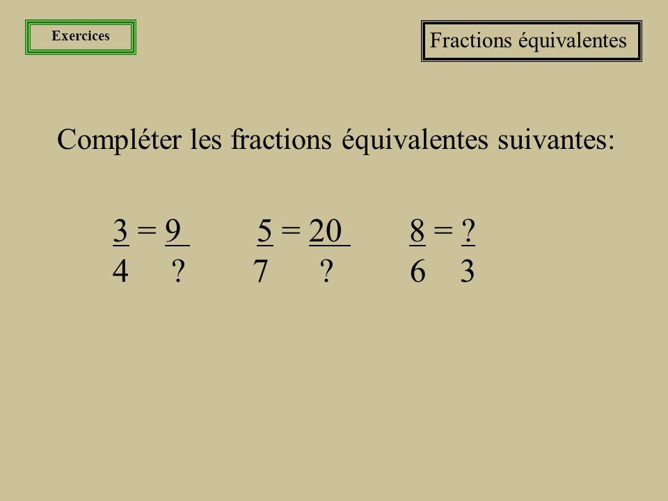 Exercices Fractions équivalentes. Compléter les fractions équivalentes suivantes: 3 = 9 5 = 20 8 =