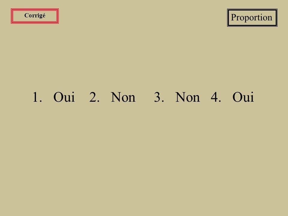 Corrigé Proportion 1. Oui 2. Non 3. Non 4. Oui