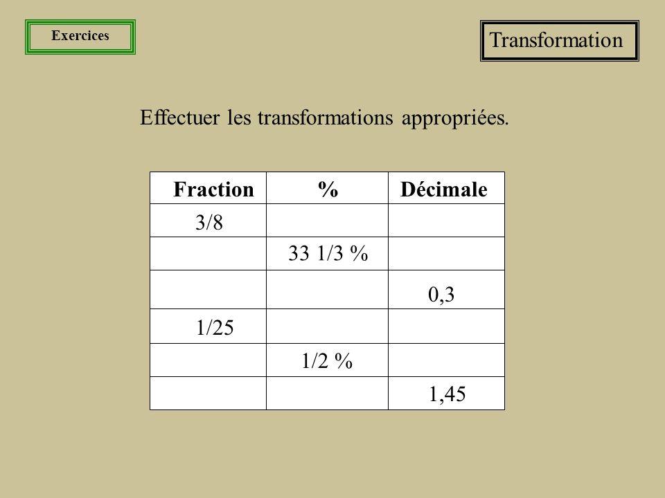 Effectuer les transformations appropriées.
