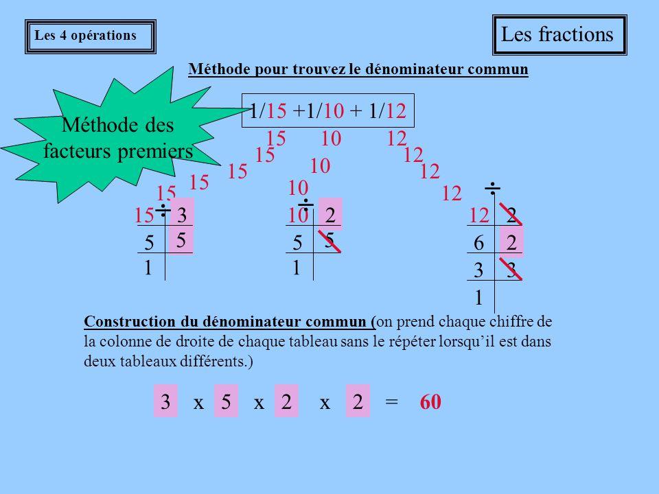    Les fractions Méthode des facteurs premiers 1/15 +1/10 + 1/12 15