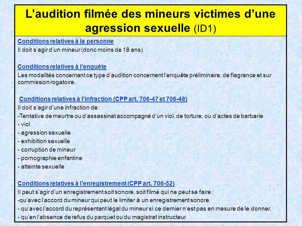L'audition filmée des mineurs victimes d'une agression sexuelle (ID1)