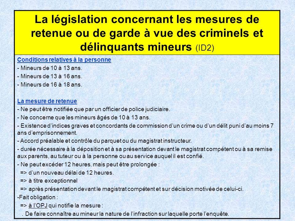 La législation concernant les mesures de retenue ou de garde à vue des criminels et délinquants mineurs (ID2)