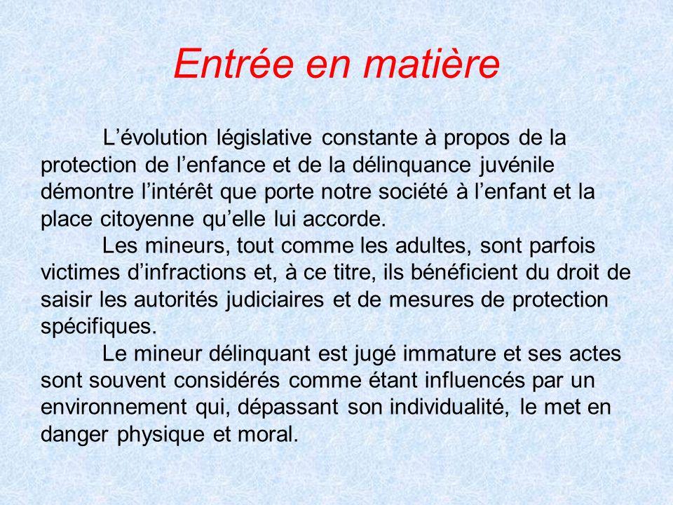 Entrée en matière L'évolution législative constante à propos de la