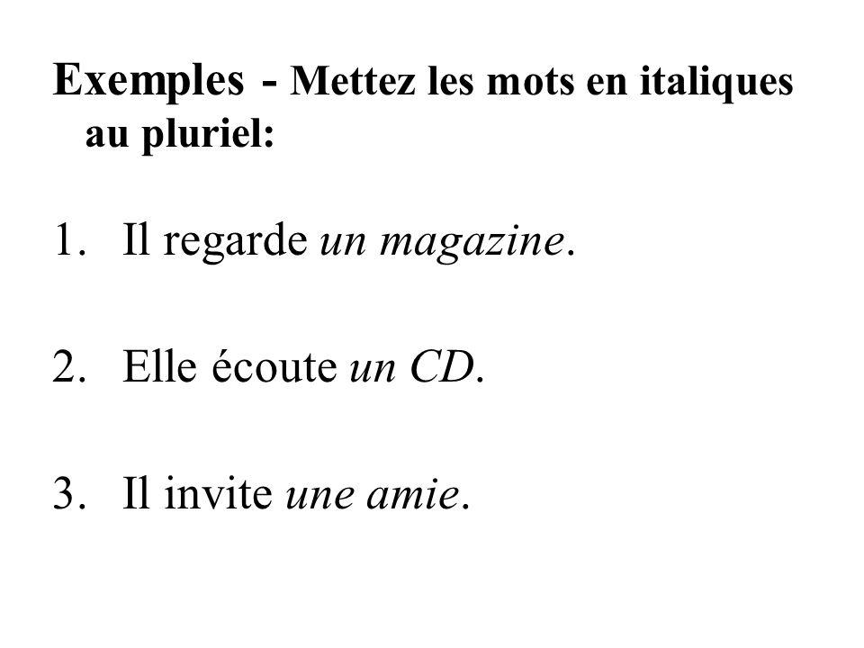 Exemples - Mettez les mots en italiques au pluriel: