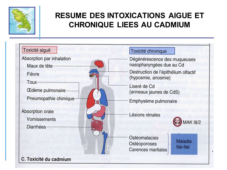 RESUME DES INTOXICATIONS AIGUE ET CHRONIQUE LIEES AU CADMIUM