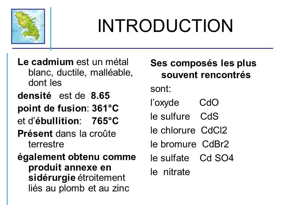 INTRODUCTION Le cadmium est un métal blanc, ductile, malléable, dont les. densité est de 8.65. point de fusion: 361°C.
