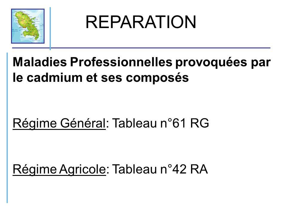 REPARATION Maladies Professionnelles provoquées par le cadmium et ses composés. Régime Général: Tableau n°61 RG.