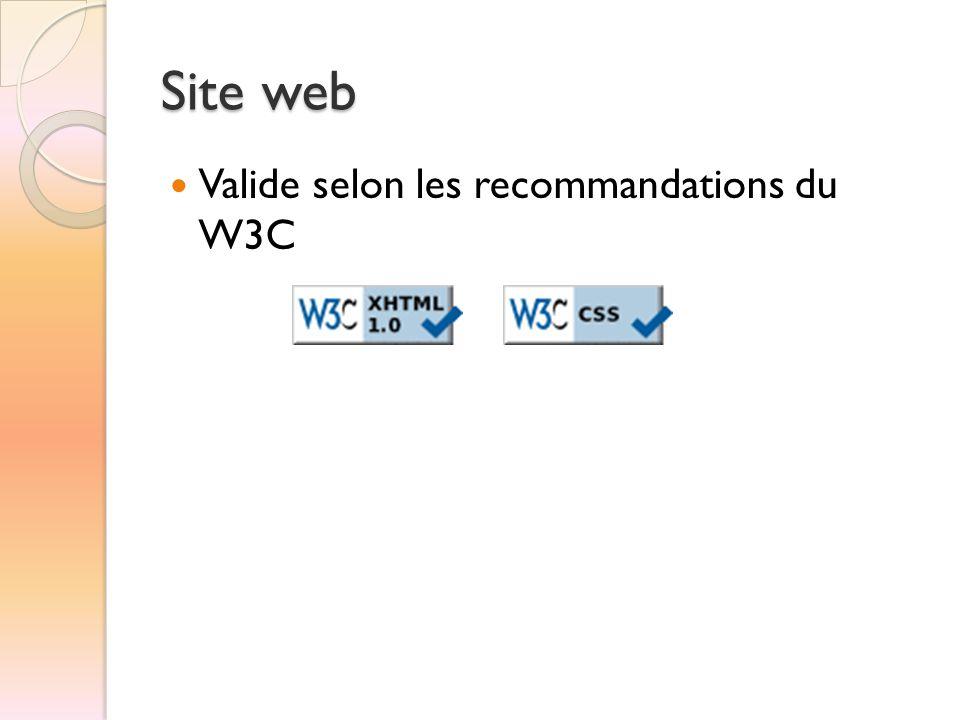 Site web Valide selon les recommandations du W3C