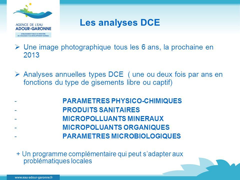 Les analyses DCE Une image photographique tous les 6 ans, la prochaine en 2013.