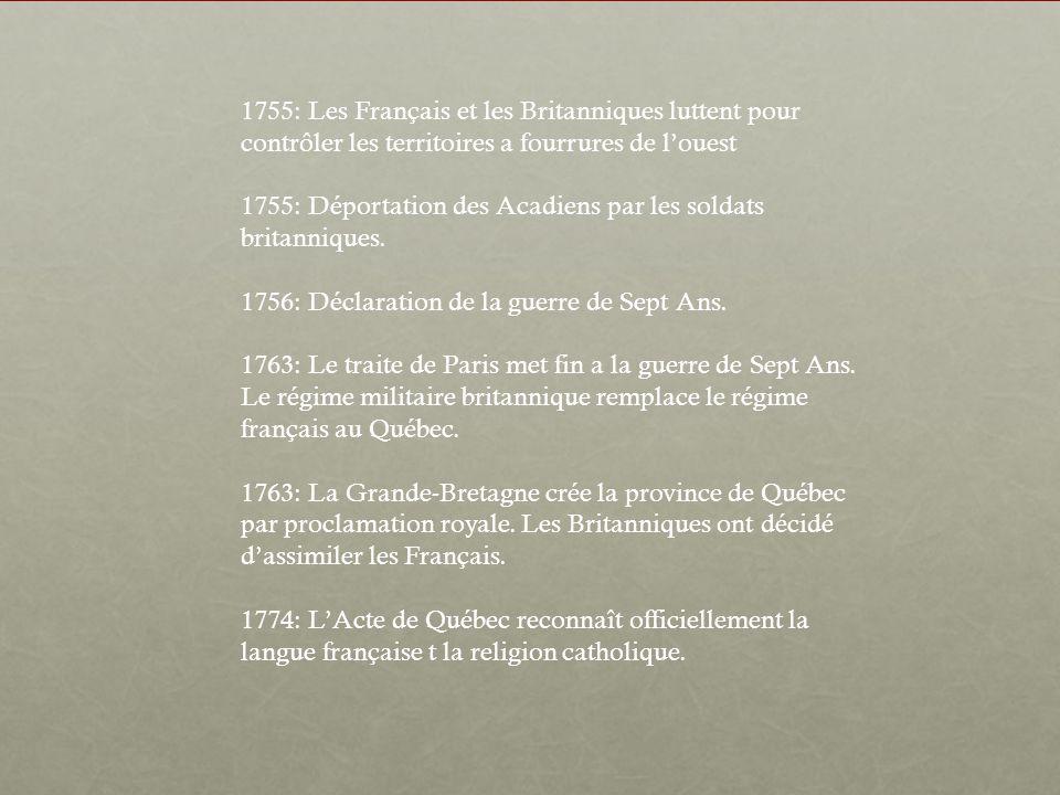 1755: Les Français et les Britanniques luttent pour contrôler les territoires a fourrures de l'ouest