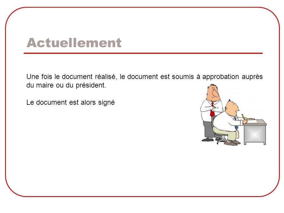 Actuellement Une fois le document réalisé, le document est soumis à approbation auprès. du maire ou du président.