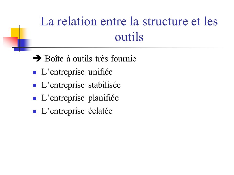 La relation entre la structure et les outils