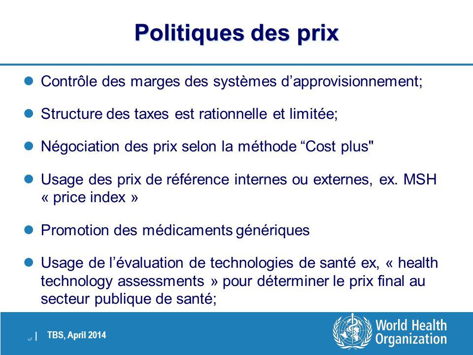 Politiques des prix Contrôle des marges des systèmes d'approvisionnement; Structure des taxes est rationnelle et limitée;