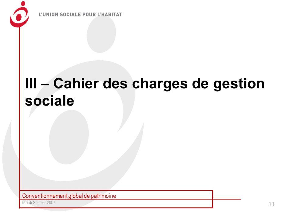 III – Cahier des charges de gestion sociale