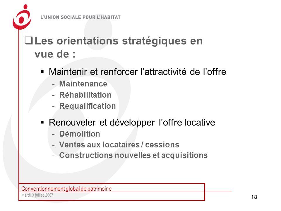 Les orientations stratégiques en vue de :