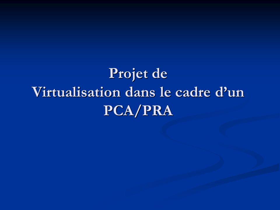 Projet de Virtualisation dans le cadre d'un PCA/PRA