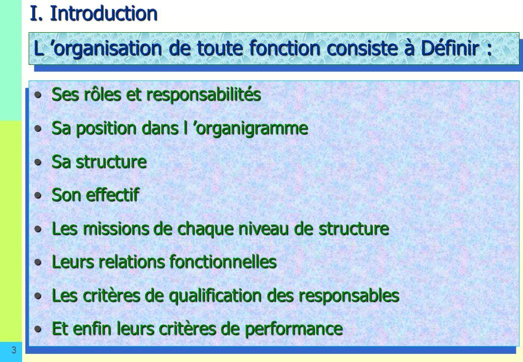 L 'organisation de toute fonction consiste à Définir :
