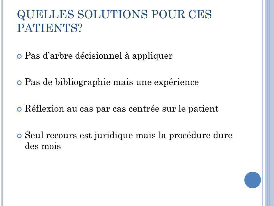QUELLES SOLUTIONS POUR CES PATIENTS