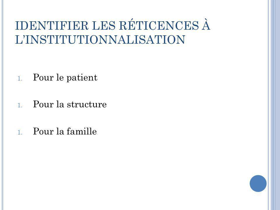 IDENTIFIER LES RÉTICENCES À L'INSTITUTIONNALISATION