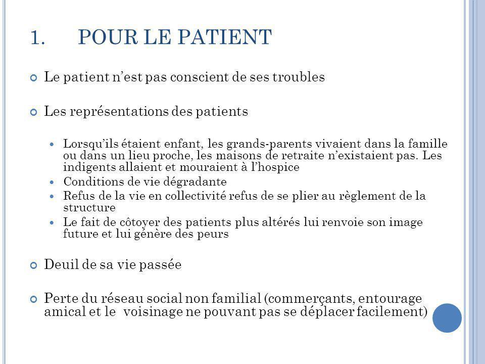 1. POUR LE PATIENT Le patient n'est pas conscient de ses troubles