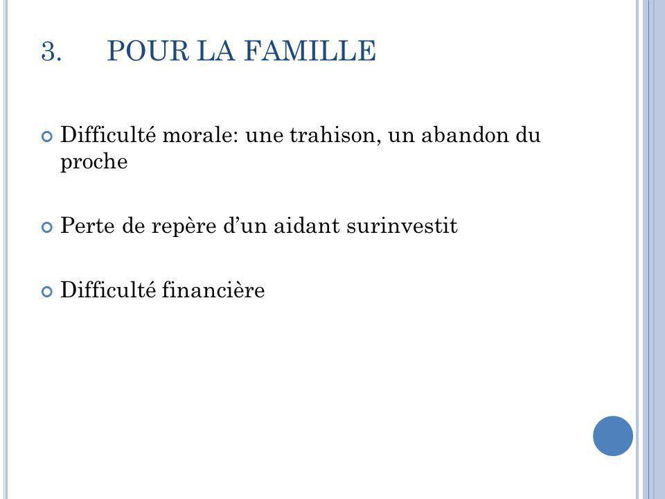 3. POUR LA FAMILLE Difficulté morale: une trahison, un abandon du proche. Perte de repère d'un aidant surinvestit.