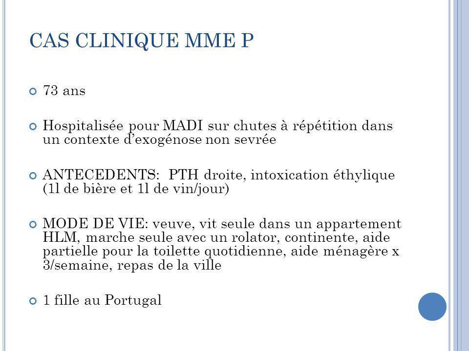 CAS CLINIQUE MME P 73 ans. Hospitalisée pour MADI sur chutes à répétition dans un contexte d'exogénose non sevrée.