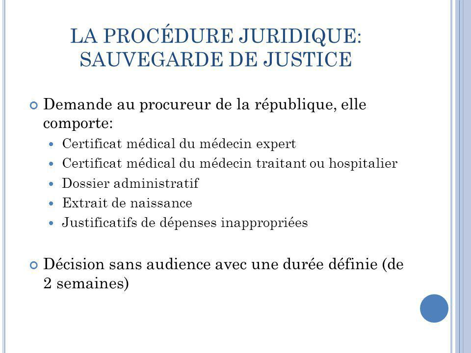 LA PROCÉDURE JURIDIQUE: SAUVEGARDE DE JUSTICE