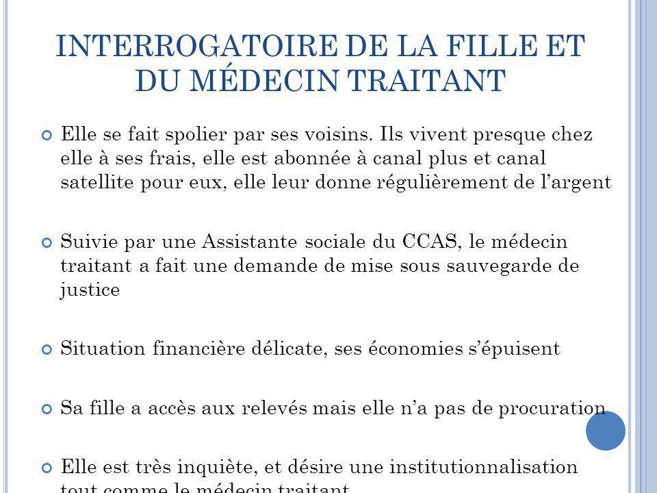INTERROGATOIRE DE LA FILLE ET DU MÉDECIN TRAITANT